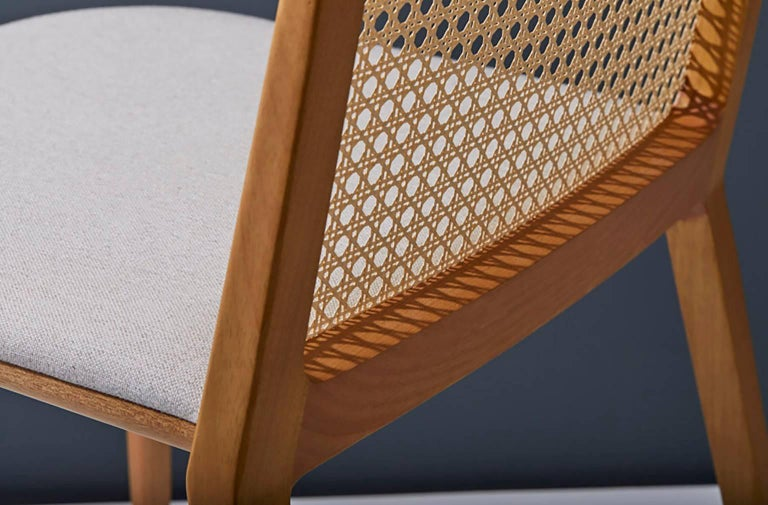 Minimal style, solid wood chair, textiles or leather seatings, pattern backboard In New Condition For Sale In Sao Paolo, SP
