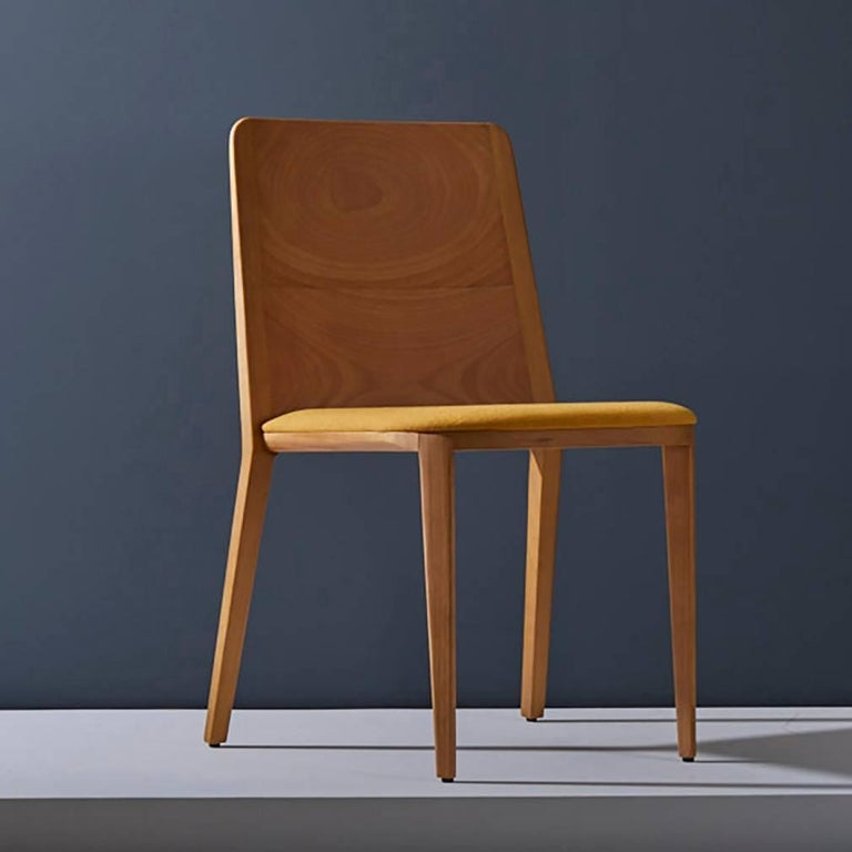 Modern Minimal style, solid wood chair, textiles or leather seatings For Sale