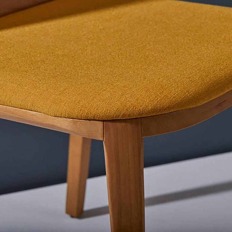 Brazilian Minimal style, solid wood chair, textiles or leather seatings For Sale