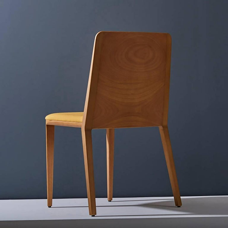 Minimal style, solid wood chair, textiles or leather seatings In New Condition For Sale In Sao Paolo, SP