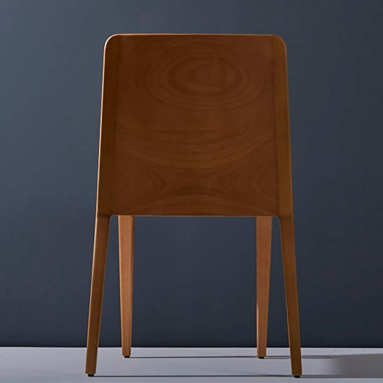 Contemporary Minimal style, solid wood chair, textiles or leather seatings For Sale