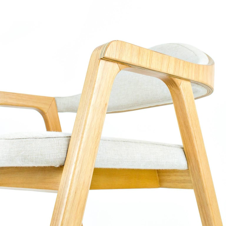 Solid wood, plywood minimalist design chair, modern style combining textiles For Sale 1