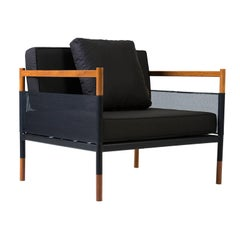 Minimalist Outdoor Lounge Chair in Hardwood, Metal and Fabric