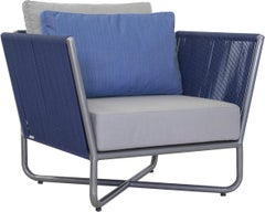 Minimal and modern style armchair, metal with nautical rope pattern.