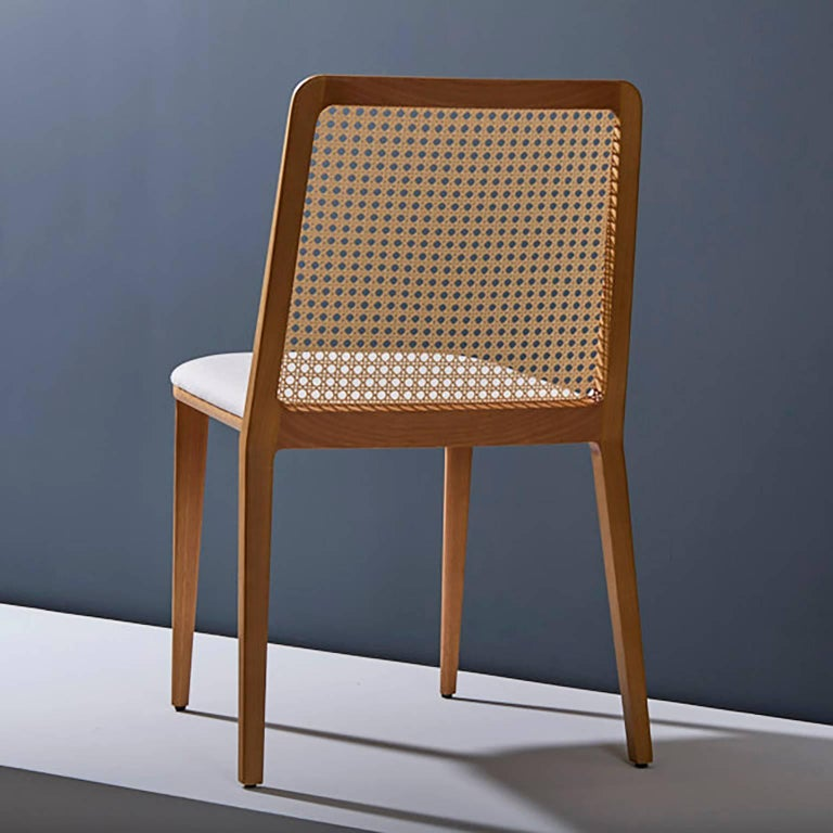 Minimal Style, Solid Wood Chair, Leather or Textile Seating, Caning Backboard For Sale 2