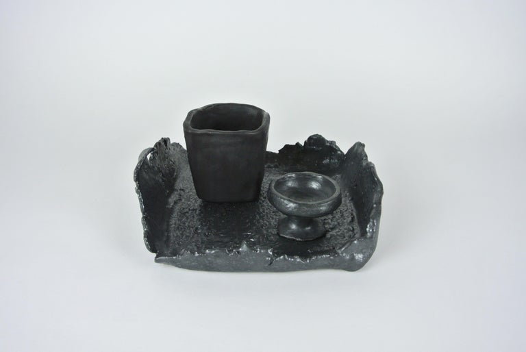 German Asymmetric Grey Stoneware Tray with Black Glaze For Sale