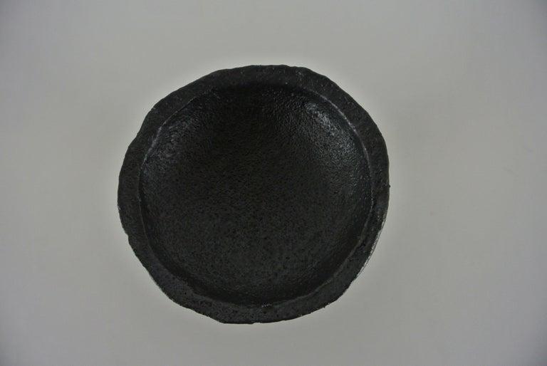 Organic Modern Black Stoneware Goblet with Black Metallic Glaze For Sale