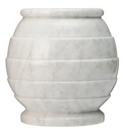 White Marble Vessel, Laithe Turned and Polished from South Africa