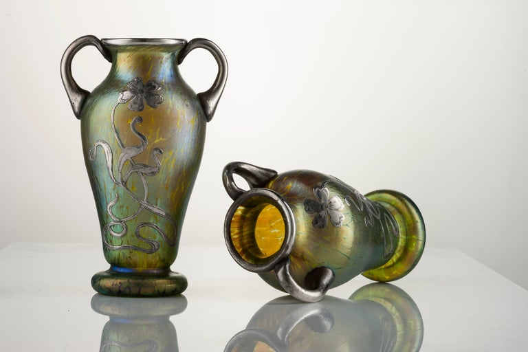 Art Nouveau Pair Of Creta Glass Silvered Papillon Amphora Vases By