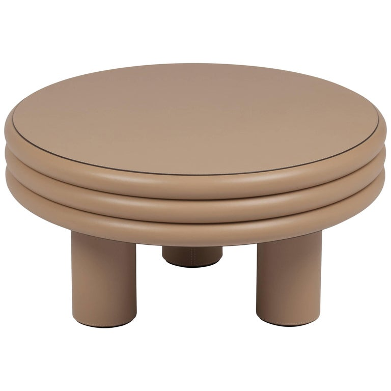 Scala Leather Coffee Table Cappuccino Nappa For Sale