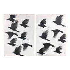 Madison Faile Birds Diptych Contemporary Artwork Acrylic on Canvas