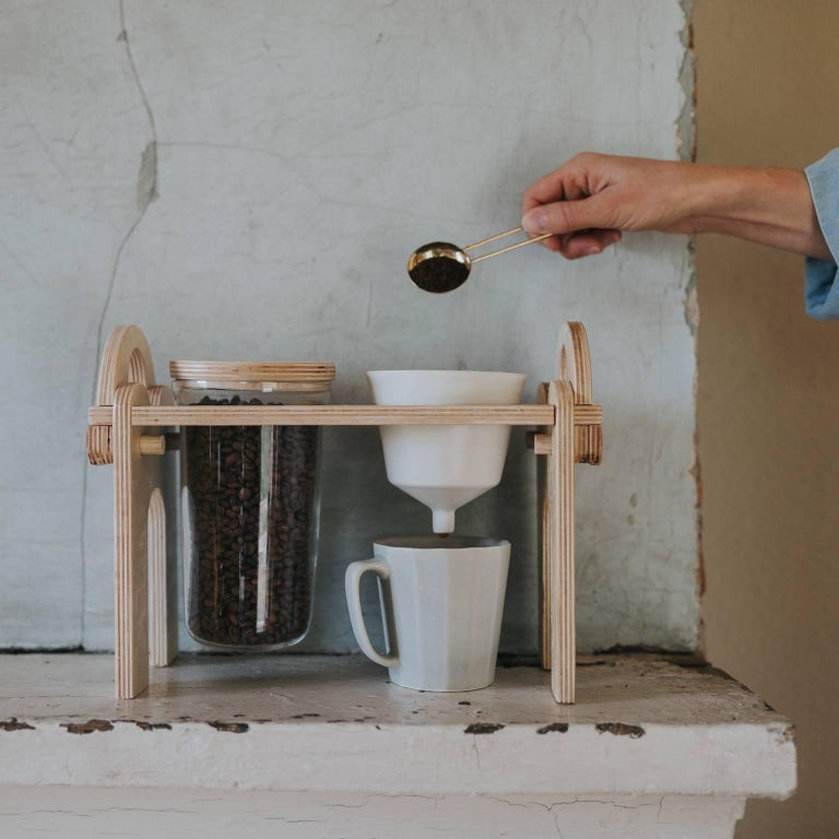 American Savant Pour over Set, Matte White Coffee Set, Modern Contemporary Porcelain For Sale