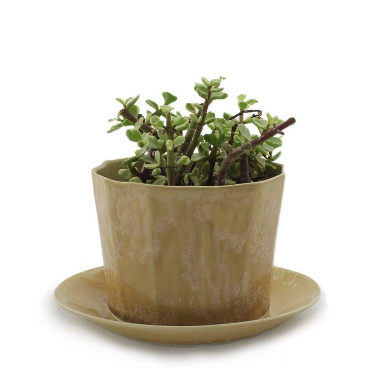 Native Planter Green Crystal Planter Modern Contemporary Glazed Porcelain For Sale 1
