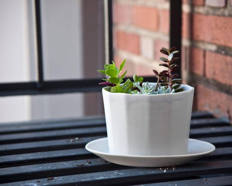 Native Planter White Crystal Planter Modern Contemporary Glazed Porcelain For Sale 9