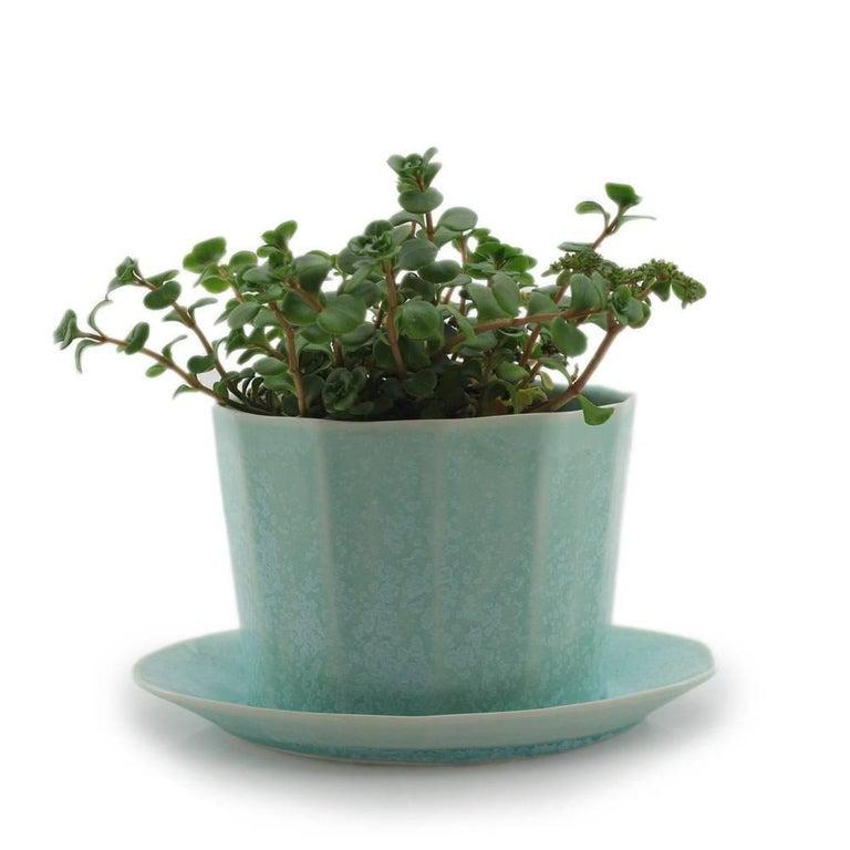 Native Planter Matte Blue Planter Modern Contemporary Glazed Porcelain For Sale 3