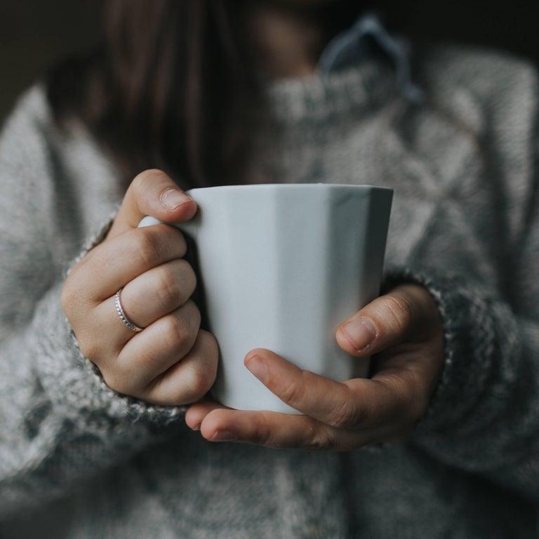Monday Mug Grey Matte Set of Four Coffee Mug Contemporary Glazed Porcelain For Sale 6