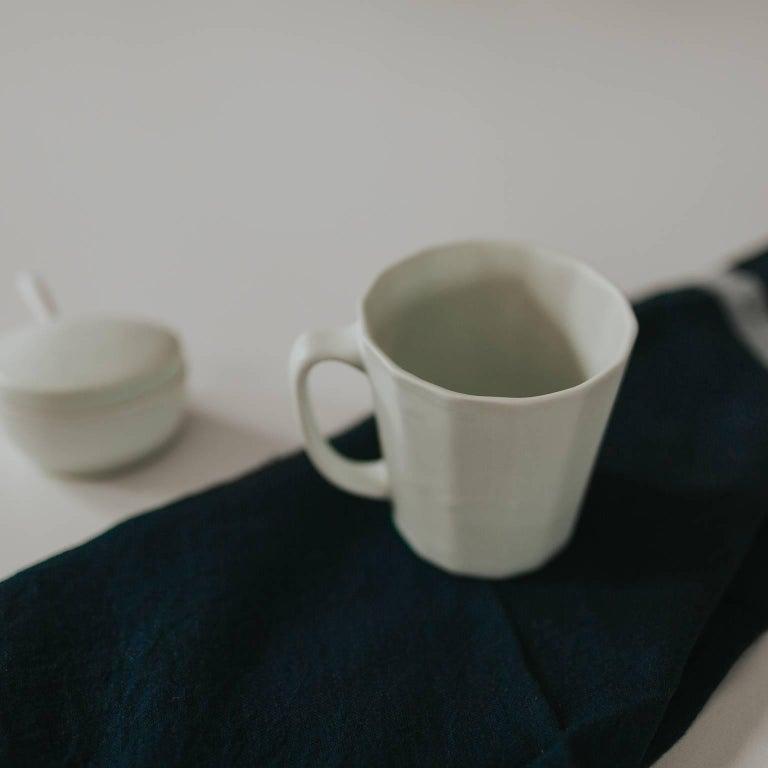 Monday Mug Crystal Blue Set of Four Coffee Mug Contemporary Glazed Porcelain For Sale 4