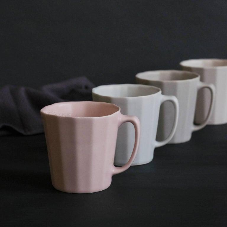 Monday Mug Crystal Honey Set of Four Coffee Mug Contemporary Glazed Porcelain For Sale 2