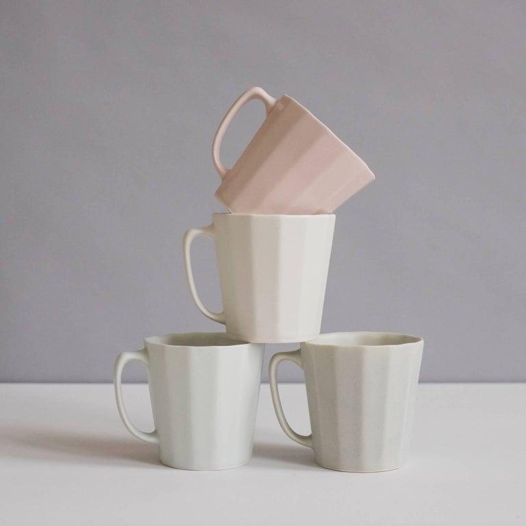 Mid-Century Modern Monday Mug Sundog Pink and Silk White Matte Set of Eight Coffee Mugs For Sale