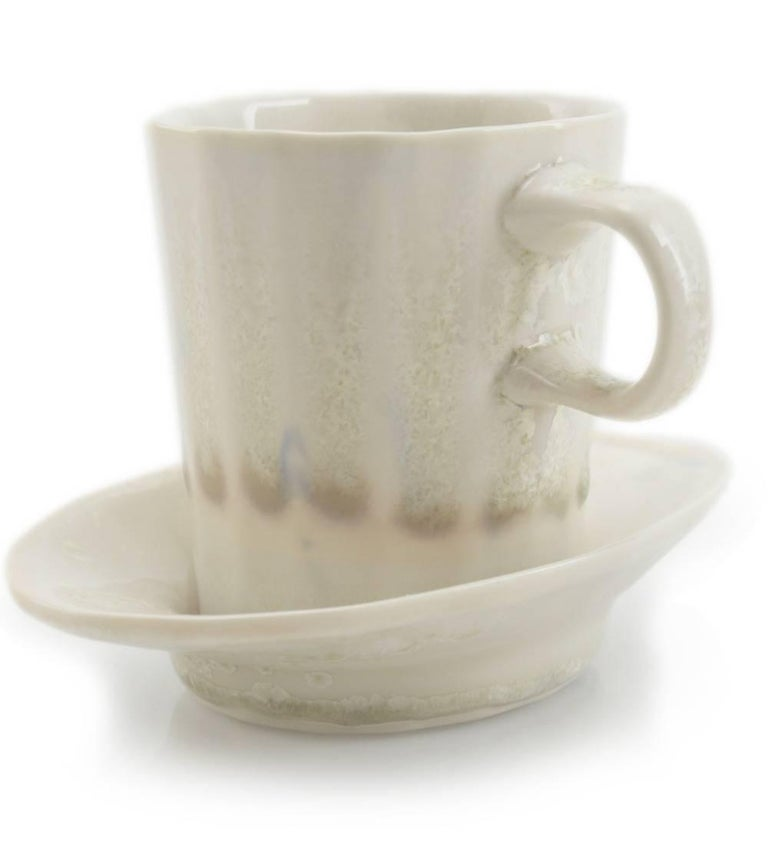 Mid-Century Modern Doubleshot Espresso Cup and Saucer Set of Four Contemporary Glazed Porcelain For Sale