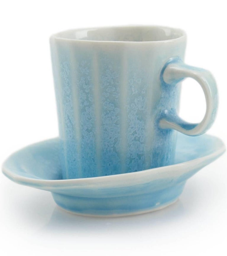 American Doubleshot Espresso Cup and Saucer Set of Four Contemporary Glazed Porcelain For Sale
