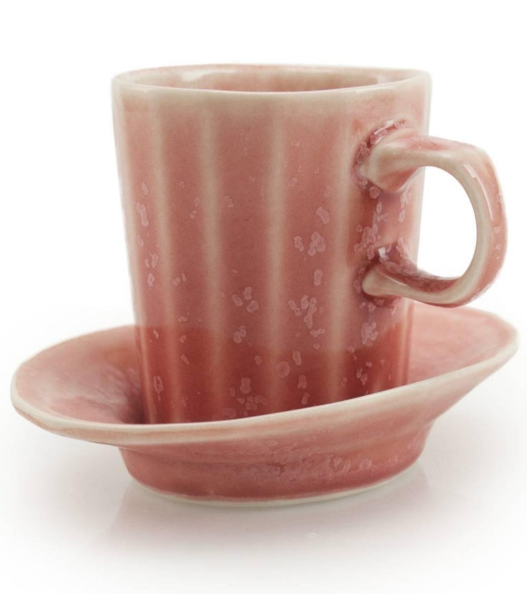 Doubleshot Espresso Cup and Saucer Set of Four Contemporary Glazed Porcelain In New Condition For Sale In Asheville, NC