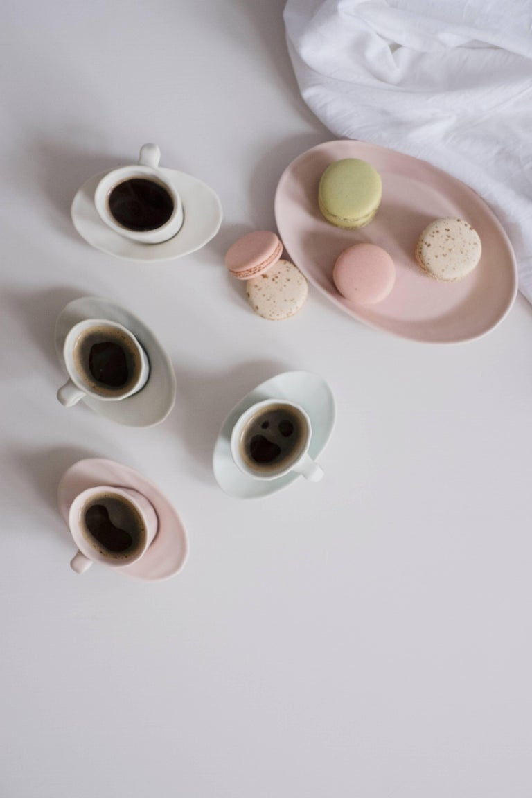 Doubleshot Espresso Cup and Saucer Set of Four Contemporary Glazed Porcelain For Sale 10