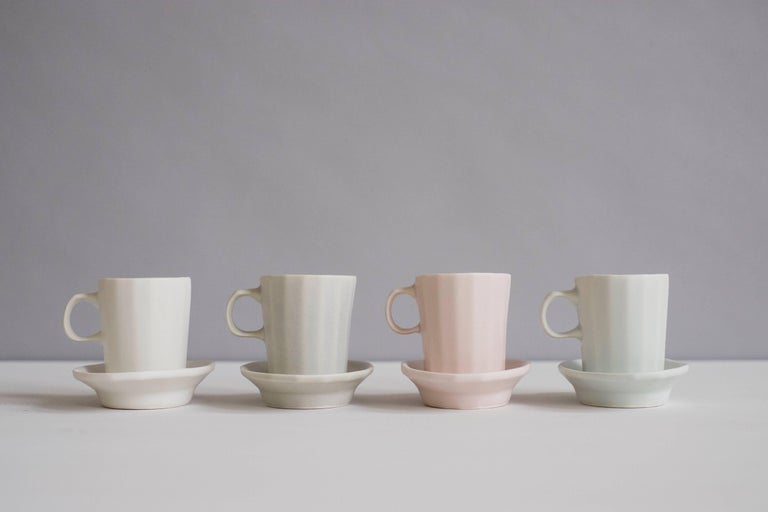 Doubleshot Espresso Cup and Saucer Set of Four Contemporary Glazed Porcelain For Sale 11