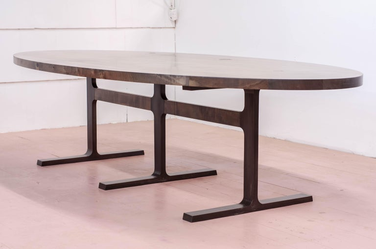 Canadian Bronze Shaker Table in Oxidized Maple and Blackened Cast Bronze For Sale