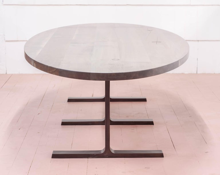 Bronze Shaker Table in Oxidized Maple and Blackened Cast Bronze In New Condition For Sale In Vancouver, BC