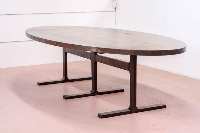 Contemporary Bronze Shaker Table in Oxidized Maple and Blackened Cast Bronze For Sale