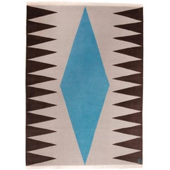"""Interior (Blue)"" Hand-Knotted Wool Rug by Carpets CC"
