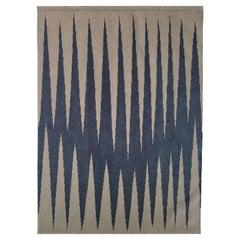 31st October - Modern Geometric Blue/Brown Handloom Wool Rug by Carpets CC