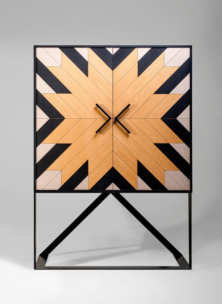 Veneer Contemporary Mahana Cabinet in Black, White and Natural Oak by Larissa Batista For Sale