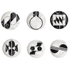 Modern Set of Six Porcelain Plates in Black and White by Etienne Bardelli