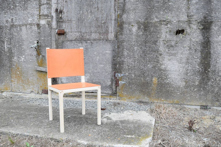American Bleached Maple and Leather Modern Dining Chair For Sale