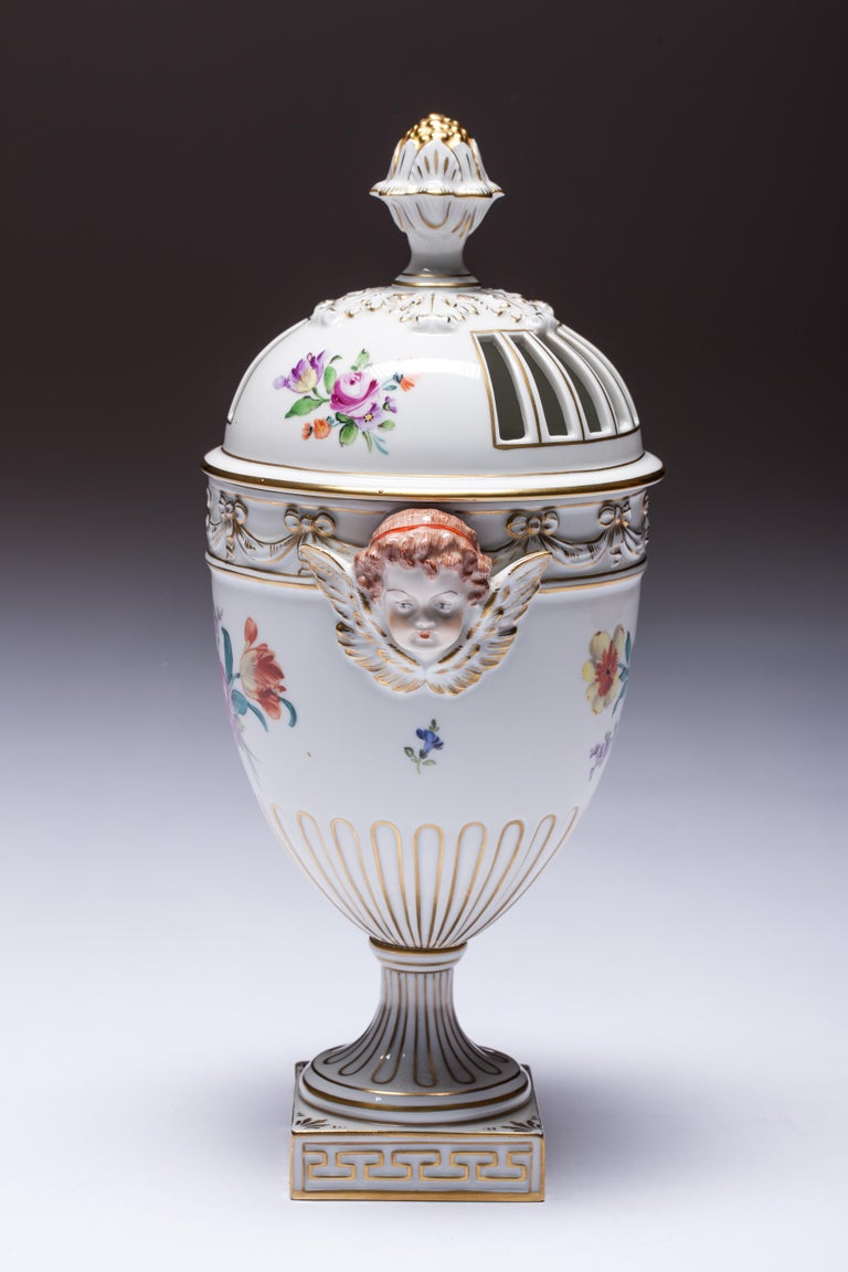 German Carl Thieme Dresden Pot Pourri Vase Mithological Head Handles Urn Porcelain For Sale