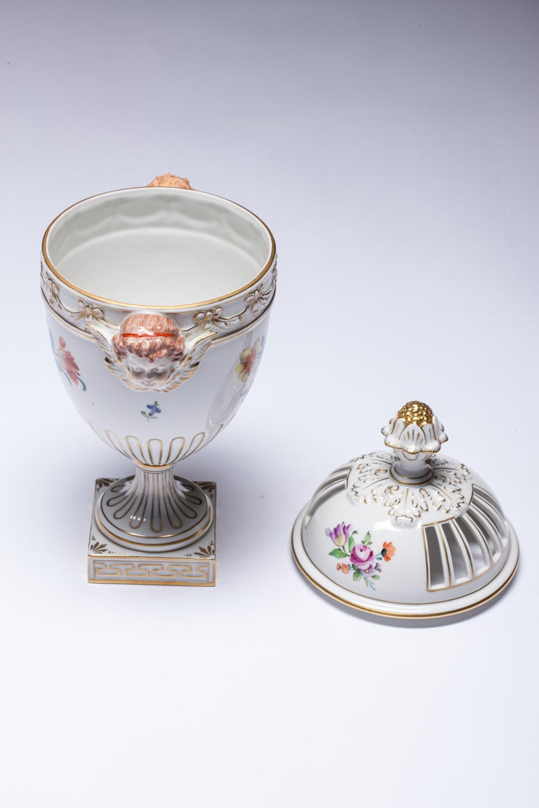 19th Century Carl Thieme Dresden Pot Pourri Vase Mithological Head Handles Urn Porcelain For Sale