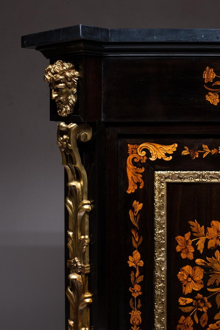 Louis XV Marquetry Cabinet, Attributed to P. Sormani, France, 1870 For Sale