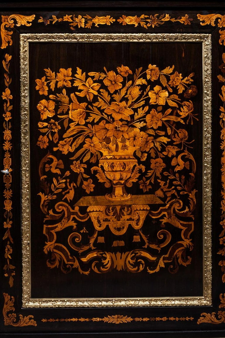French Marquetry Cabinet, Attributed to P. Sormani, France, 1870 For Sale