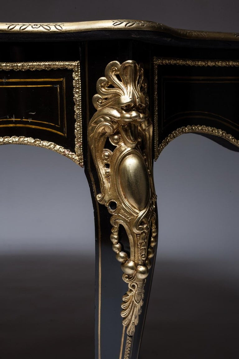 Gilt Writing Table in Bronze Marquetry, 1860, France For Sale