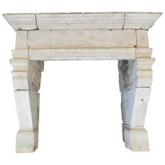 Early 18th-17th Century French Limestone Louis XIII Monumental Fireplace