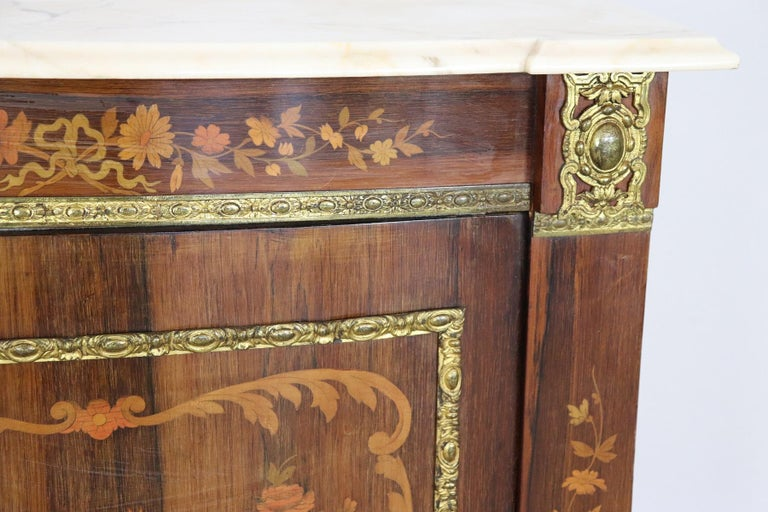 Italian 19th Century French Napoleon III Rosewood Inlay Wood Cabinet with Marble Top For Sale