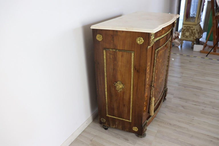 19th Century French Napoleon III Rosewood Inlay Wood Cabinet with Marble Top For Sale 3