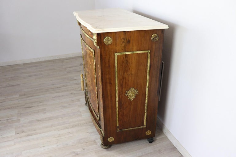 19th Century French Napoleon III Rosewood Inlay Wood Cabinet with Marble Top For Sale 6