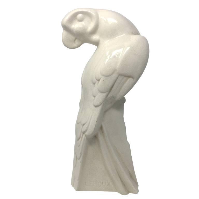 Original Art Deco Parrot Sculpture Signed by Leroux, France, 1930s
