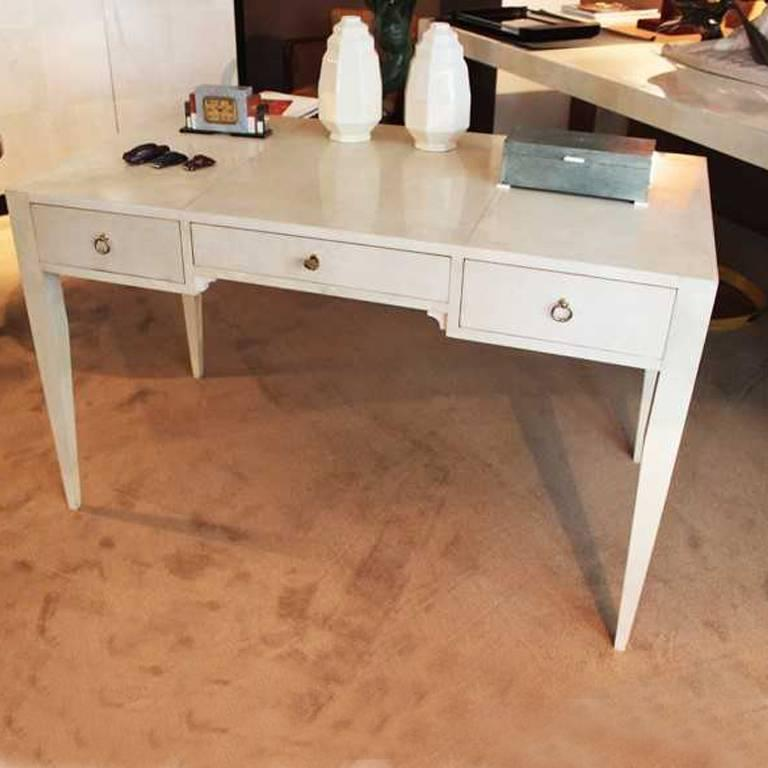 Amazing Desk In Parchment And Designed By Michel Leo Art Deco Style Handmade
