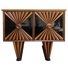 Art Deco Rosewood and Ebonized Wood French Sideboard, 1930s
