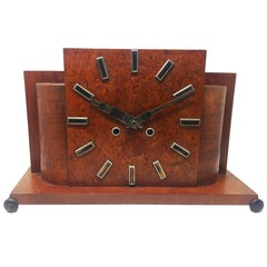 Original French Art Deco Table Clock in Briar Root, 1930s