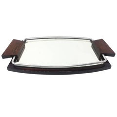 Art Deco Tray in Mirror and Wood, 1925